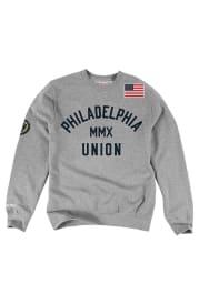 Mitchell and Ness Philadelphia Union Mens Grey Team History Long Sleeve Fashion Sweatshirt
