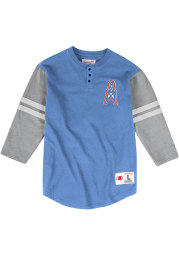 Mitchell and Ness Houston Oilers Blue Henley Long Sleeve Fashion T Shirt