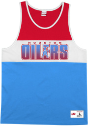 Mitchell and Ness Houston Oilers Mens Blue MESH NFL Short Sleeve Tank Top