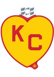 Kansas City Monarchs Red Heart Yellow KC Stickers