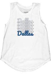 Dallas Women's Repeating Wordmark Muscle Tank - White