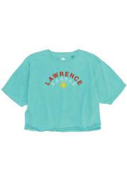 Kansas Womens Light Blue Sunflower Short Sleeve T-Shirt
