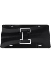 Illinois Fighting Illini Silver Team Logo Black Car Accessory License Plate