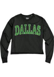 Dallas Women's Reactive Black Oversized Font Cropped Long Sleeve T-Shirt