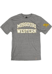 Rally Missouri Western Griffons Grey Triblend Arch Name Arm Hit Short Sleeve Fashion T Shirt