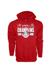 Ohio State Buckeyes Mens Red 2020 Big 10 Conference Champions Long Sleeve Hoodie