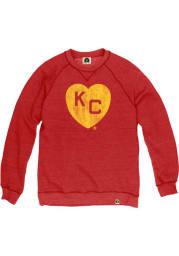 Rally Kansas City Monarchs Mens Red KC Heart Long Sleeve Fashion Sweatshirt