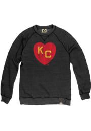 Rally Kansas City Monarchs Mens Black KC Heart Long Sleeve Crew Sweatshirt