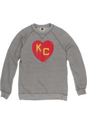 Rally Kansas City Monarchs Mens Grey KC Heart Long Sleeve Crew Sweatshirt