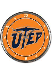 UTEP Miners Chrome Wall Clock