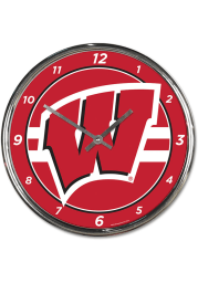 Wisconsin Badgers Chrome Wall Clock