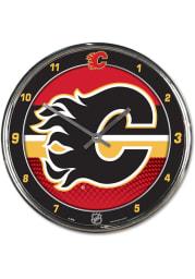 Calgary Flames Chrome Wall Clock