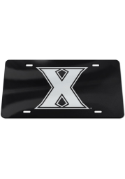 Xavier Musketeers Silver Logo Black Background Car Accessory License Plate