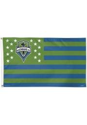 Seattle Sounders FC 3x5 Star Stripes Blue Silk Screen Grommet Flag