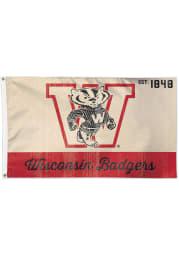 Wisconsin Badgers 3x5 Vintage Cardinal Silk Screen Grommet Flag