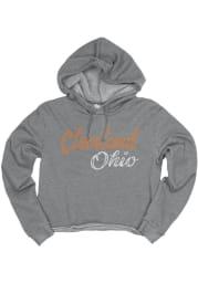 Cleveland Womens Grey Script Hooded Sweatshirt