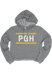 Pittsburgh Womens Grey Block and Bars Hooded Sweatshirt