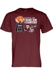 Texas A&M Aggies Maroon 2020 Orange Bowl Champions Short Sleeve T Shirt