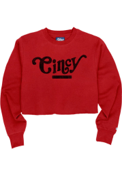 Cincinnati Womens Red Coopeer Hippie Font Crew Sweatshirt