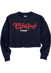 Cleveland Womens Navy Blue Coopeer Hippie Font Crew Sweatshirt