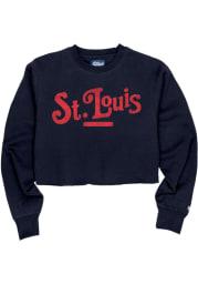 St Louis Womens Navy Blue Coopeer Hippie Font Crew Sweatshirt
