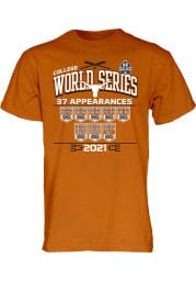 Texas Longhorns Burnt Orange 2021 College World Series Bound Short Sleeve T Shirt