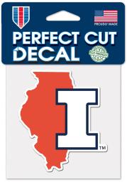 Illinois Fighting Illini 4X4 Perfect Cut Color Auto Decal - Orange