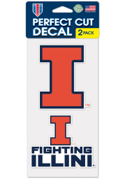 Illinois Fighting Illini 4X4 Set of 2 Auto Decal - Orange