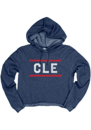 Cleveland Women's Navy CLE Bars Long Sleeve Crop Hood