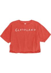 Rally Cleveland Womens Red Cheetah Short Sleeve T-Shirt
