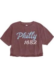 Rally Philadelphia Womens Maroon Roller Rink Short Sleeve T-Shirt