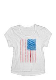 Americana Womens White Patterned Flag Short Sleeve T Shirt
