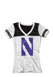 Northwestern Wildcats Juniors White Burnout V-Neck T-Shirt