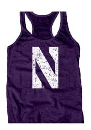 Northwestern Wildcats Juniors Purple Burnout Tank Top