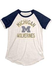 Michigan Wolverines Womens Oatmeal Stella Short Sleeve Crew T-Shirt