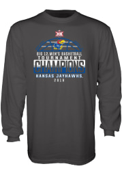Kansas Jayhawks Charcoal Big 12 Champion Long Sleeve T Shirt