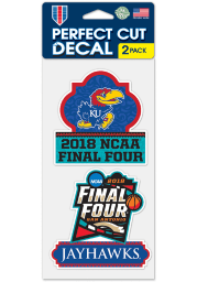 Kansas Jayhawks 2pk 4x4 2018 Final Four Auto Decal - Blue