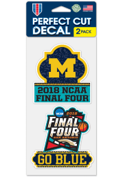Michigan Wolverines 2pk 4x4 2018 Final Four Auto Decal - Navy Blue