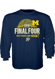 Michigan Wolverines Youth Navy Blue Buzzed Long Sleeve T-Shirt