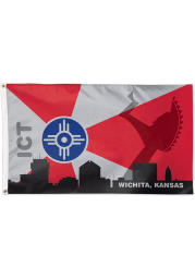 Wichita Keeper of the Plains 3x5 ft Deluxe Red Silk Screen Grommet Flag
