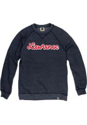 Kansas Mens Navy Blue Script Long Sleeve Crew Sweatshirt