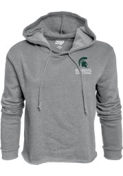 Michigan State Spartans Womens Grey Cassie Prime Rate Cropped Hooded Sweatshirt