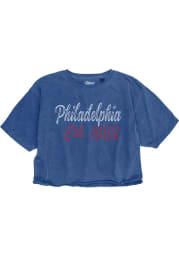 Philly Womens Royal Wordmark Short Sleeve Crop Top