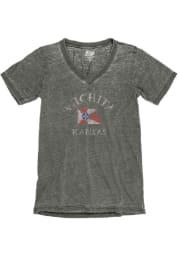 Wichita Womens Charcoal City Flag Short Sleeve V Neck T Shirt