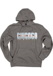 Chicago Dark Grey Flag Long Sleeve Fleece Hood Sweatshirt