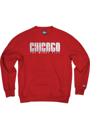 Chicago Mens Red Wordmark Flag Long Sleeve Crew Sweatshirt