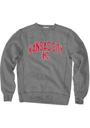 Kansas City Gunmetal Grey Arched Wordmark Long Sleeve Crew Sweatshirt