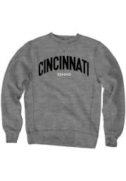 Cincinnati Mens Grey Wordmark Long Sleeve Crew Sweatshirt