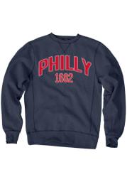 Philadelphia Mens Navy Blue Wordmark Long Sleeve Crew Sweatshirt