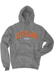 Cleveland Grey Ohio Long Sleeve Fleece Hood Sweatshirt